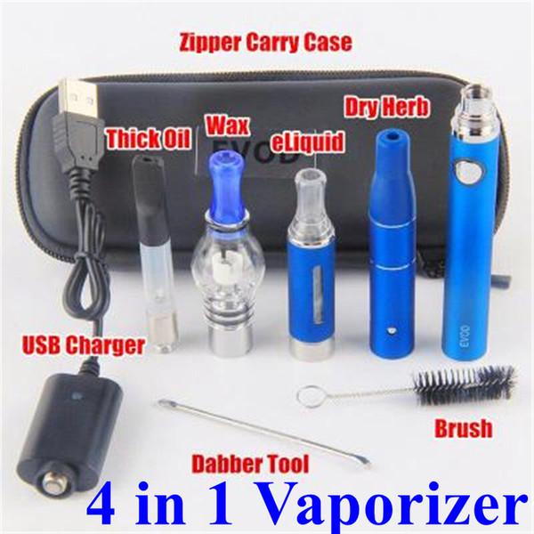 Super 4 in 1 Starter Kits EVOD UGO eGo 510 Thread Battery Dab Pens Dry Herb Vaporizer Wax Oil Vapes USB Passthrough CE3 Vape Cartridges Kit