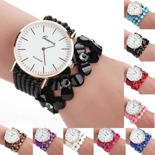 Fashion Women Flower quartz Geneva Watches Creative Handmade Temperament Bracelet Watch Girls Ladies Party Wristwatch Jewelry