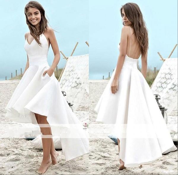 2019 Летние пляжные свадебные платья Спагетти-бретели Атласная спинка Высокая Низкая Садовая линия Свадебные свадебные платья