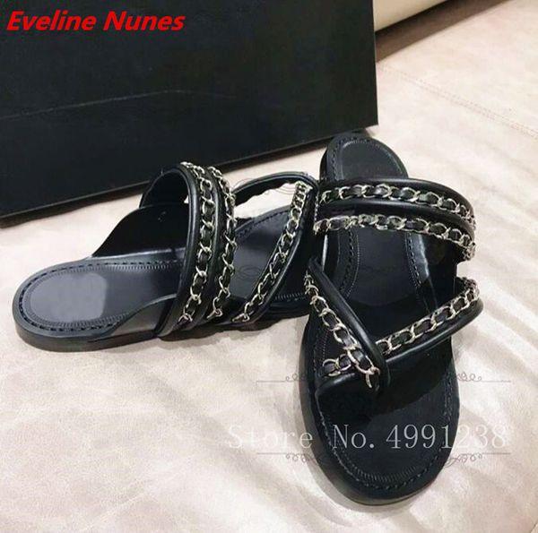 Casual Cozy Beach Flip Flops Women Slides Flats Chains Black Leather Slides Slipper Sapatos Outdoor Shoes Big Size 40