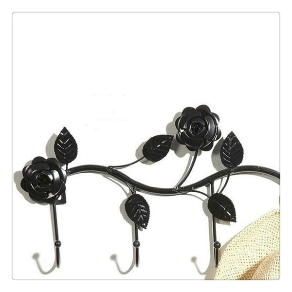 Black White Garden Floral Pattern Wall Mounted 5 Coat Hook Clothing Rack Key Holder Hat Hanger Hot Sale Home Supplies
