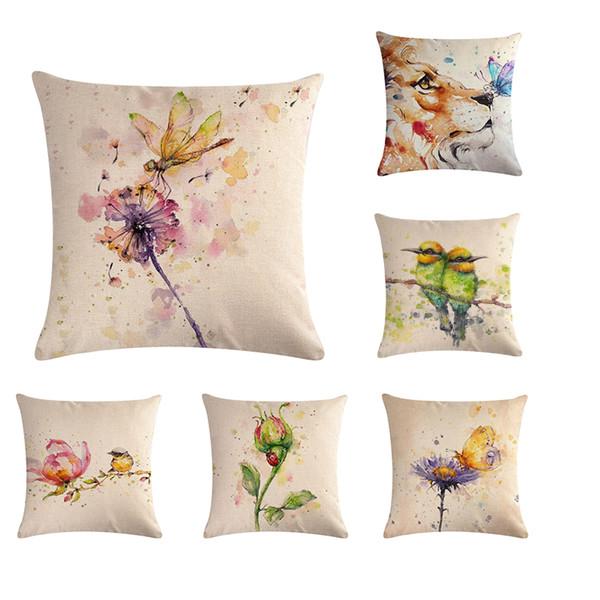45 * 45 cm de dibujos animados pintados a mano pintura al óleo Animal patrón de flores cubierta del amortiguador conveniente para la decoración casera almohada cuadrada