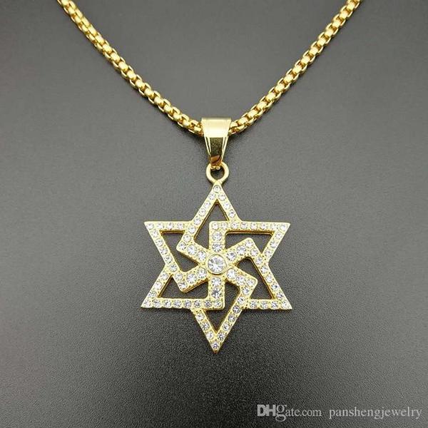 Colgantes de cristal estrella de acero inoxidable, hombres, mujeres, collar, regalo de la joyería SN194