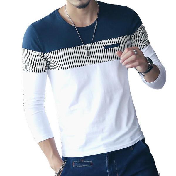 Nova Moda T Shirt Dos Homens Da Marca de Manga Longa Patchwork Listrado T Camisas Dos Homens Casuais Hip Hop Camiseta Masculina Plus Size