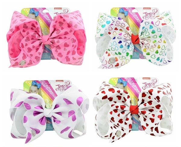12Pcs 8 Inch Colorful Heart Print Grosgrain Ribbon Bows Clips Jojo Kids Hairpin Hair Clips Barrettes Beautiful HuiLin C227