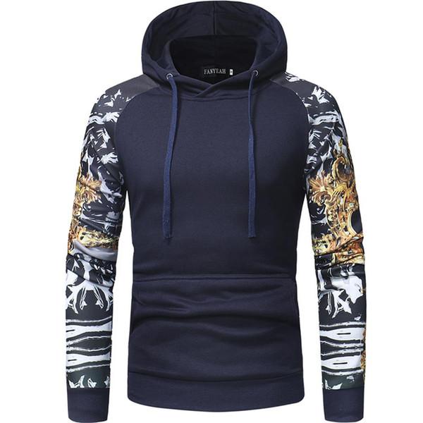 MISSKY 2019 Nuevos Hombres Sudadera Casual Slim Fit Impresión Digital Costura Con Capucha Tops Ropa Masculina Para Otoño Primavera