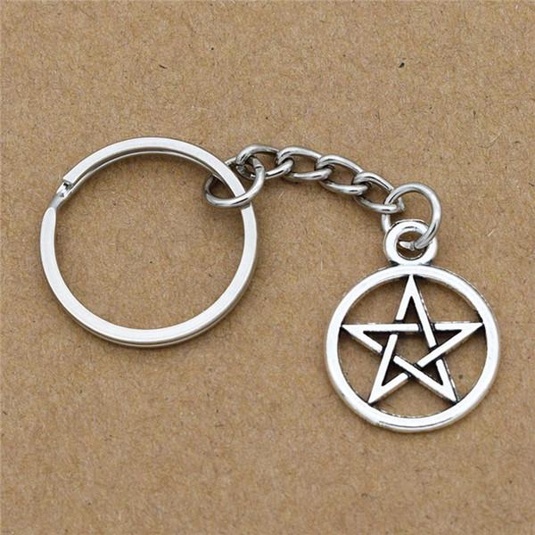 Supernature de prata do vintage wicca estrela pentagrama pentagrama charme pingente chaveiro presente bolsa de carro anel chave da cadeia de jóias diy