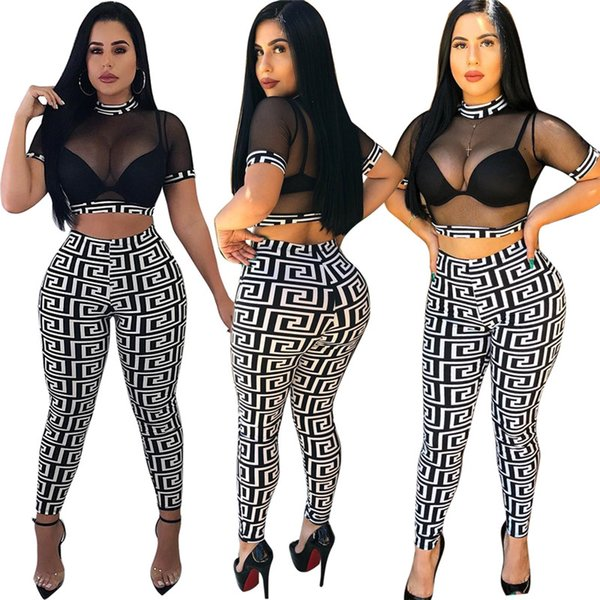 Women Gauze Crop Top Leggings Outfits See Through Mesh Short Pullover + Slim Pants 2 Piece Set Designer Club Suit Sexy Girl Club Wear C53001