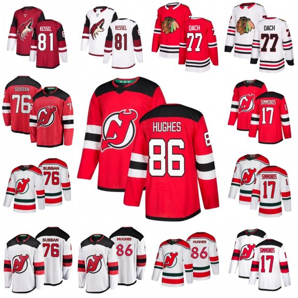 best selling 86 Jack Hughes Jerseys New Jersey Devils 17 Wayne Simmonds 76 P.K. Subban Arizona Coyotes 81 Phil Kessel Chicago Blackhawks 77 Kirby Dach