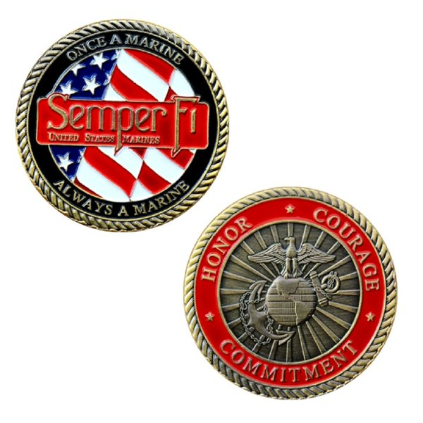 GLSY Hot Selling Commemorative Coin Marine Corps Motto Semper F1 Commitment Honor Courage Coins collectibles Gift