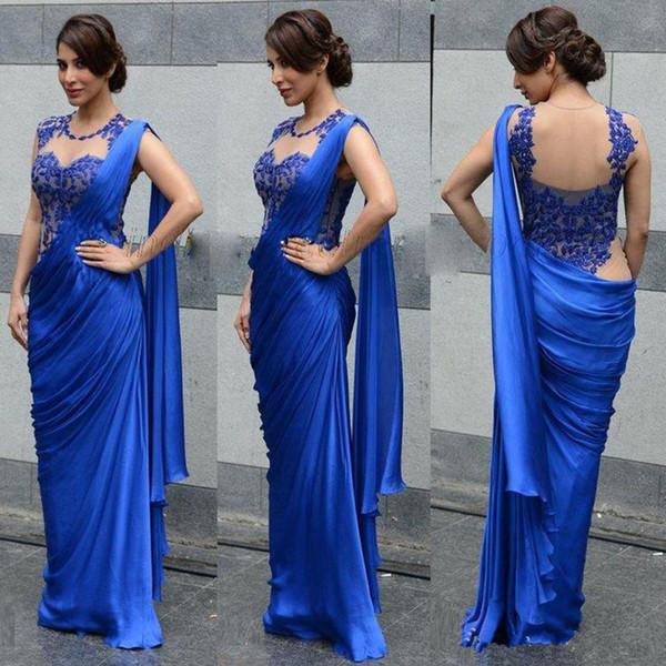 New Indian Dubai Vestidos de Noite Sexy Azul Royal Bainha Apliques Sheer Envoltório Festa Formal Vestidos de Baile Mulheres Elegantes Vestidos