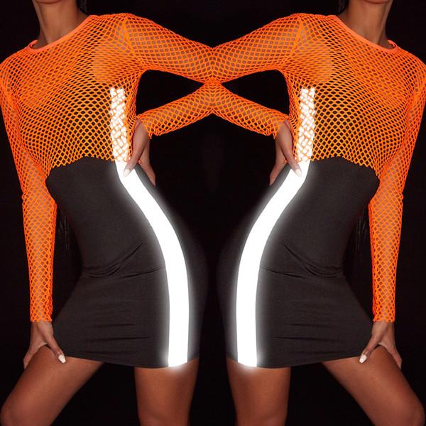 Женское черное платье-майка Summer Bodycon 3M Светоотражающие дизайнерские платья без рукавов