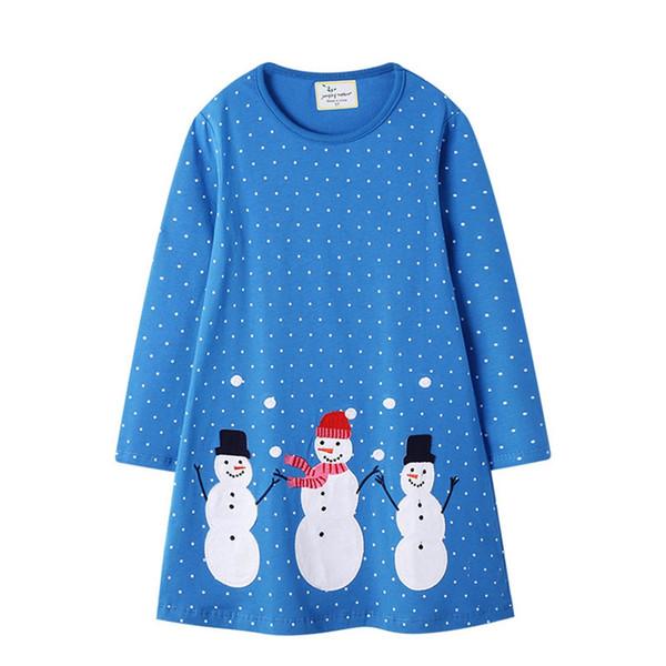 Детская осень / зима Рождество принцессы Снеговик печать платье Круглая шея с длинными рукавами Straight платья