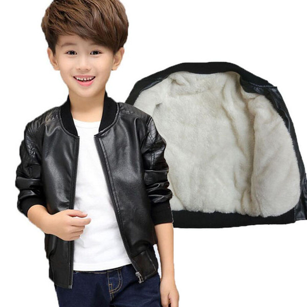 2018 Child leather clothing small kid casual boys jacket black and brown spring and winter thickening 2 Style boy casual jacket
