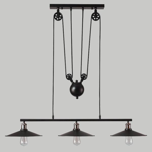 Vintage Pendant Lights Fixtures Loft Style Hanglamp Pulley Retro Lamp Black Metal Industrial Lighting Bedroom Dining Room Bar