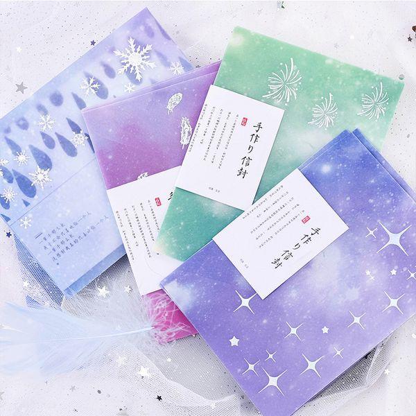 3 ADET / PAKET Kawaii Sevimli Litmus Kağıt Kar Tüy Yıldız Gümüş Zarf Şeffaf Hediye Düğün Kartı Için Scrapbooking Parti sl1755