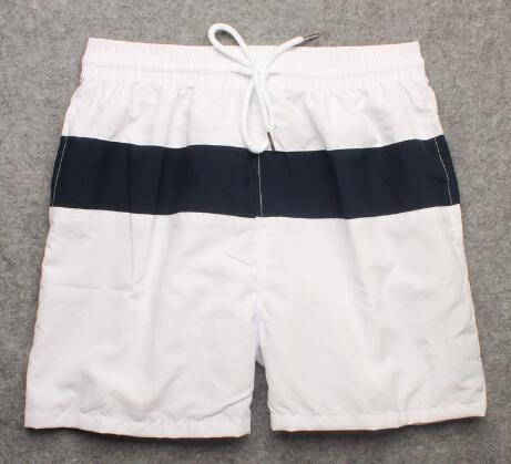 Limited Men Striped Polo Shorts American Fashion Classic Beach Short Pants Small Pony Print Breathable Boys Sport Trunks White Blue