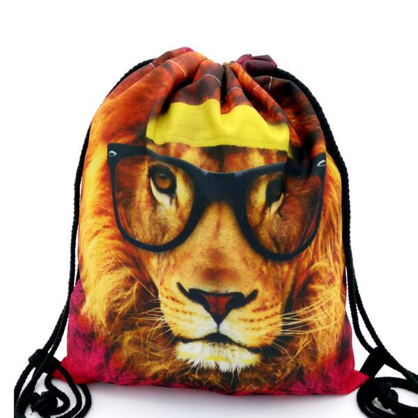 39x30cm Divertente Harajuku Cute Cloth Coulisse Borse Tela Kawaii Storage Backpack 3d Stampa donne Confezione regalo Borsa Cartoon Lion