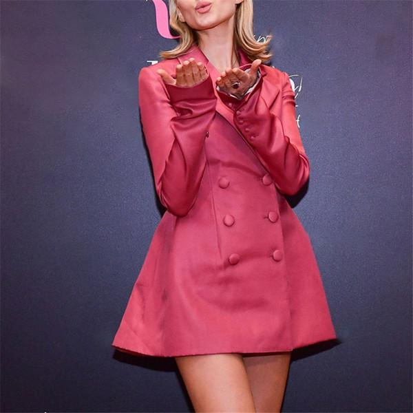 2019 Recién llegado de las mujeres Pink Blazers manga larga Slime moda chaquetas atractivas de la capa superior de las mujeres de doble botonadura Blazers para mujer costo