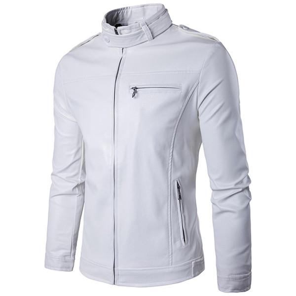 Wholesale- Brand White Pu Leather Jacket Men 2017 Winter Motorcycle Jacket Design Mens Slim Fit Biker Jacket Stylish Veste Cuir Homme