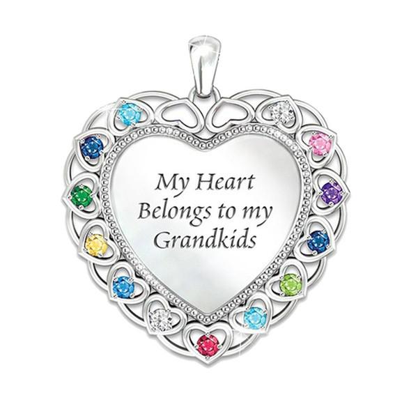 Torunlar Renkli Birthstone Aşk Kalp Şekli Kolye Kadın Kolye Takı Yeni Sıcak