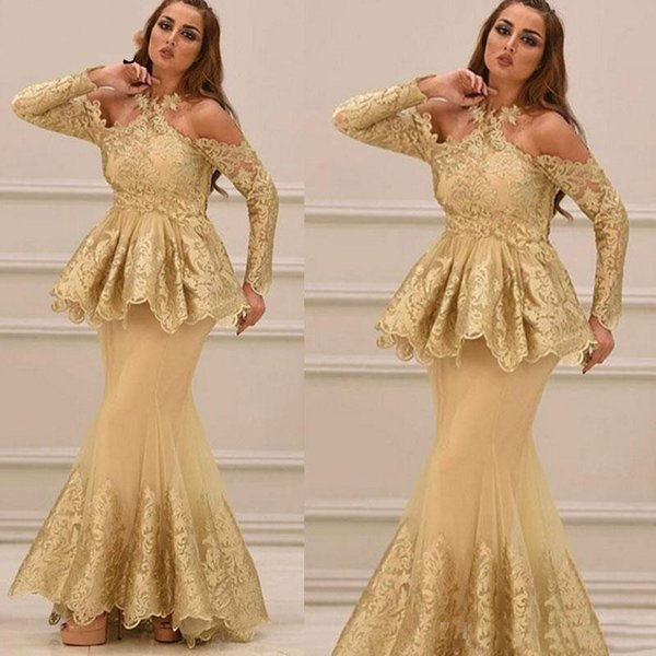 Modest Gold Arabic Evening Dresses Formal Mother Dress 2019 Peplim Halter Neck Long Sleeve Lace Party Gowns With Appliques Vestidos
