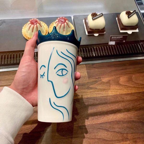 Authentic Starbucks Crown Mermaid Goddess Coffee Cup 2018 Anniversary White Double Ceramic Mug 355ml With Cover Cheap Coffee Mugs Cheap Coffee Mugs