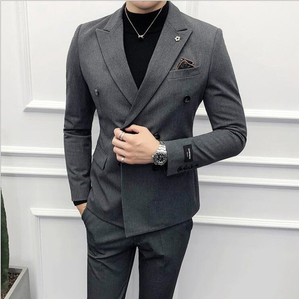 British Double-breasted Small Suits For Men Nightclub Hair Stylist Jacket Suits Set Slim Fit Business Wedding With Pants