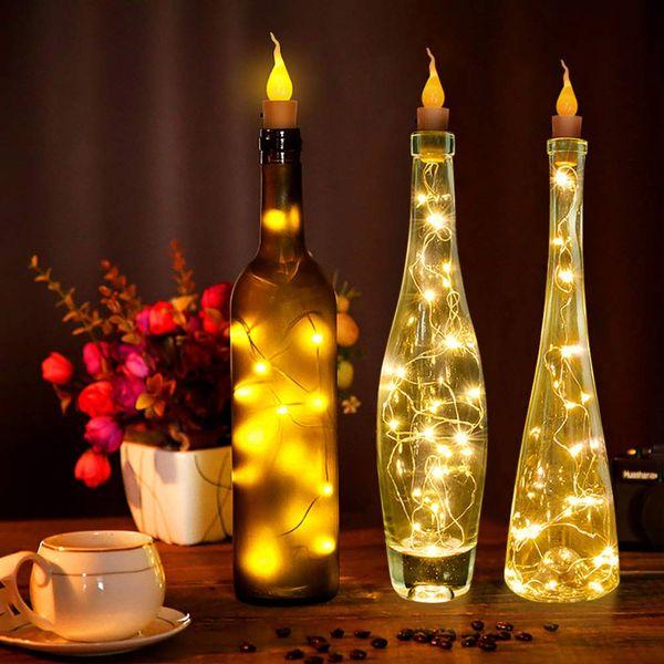 2M 20LED Lámpara de alambre de cobre Lámpara de botella de vino Corcho Blanco cálido Batería LED Luz de cadena para decoración de fiesta DIY Navidad
