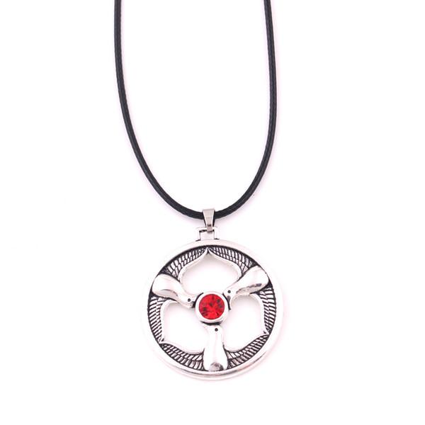 Rhiannon Tre Uccelli Fascino Gallese Dea Uccelli Collana in cristallo Gioielli in pelle Amuleto Religioso