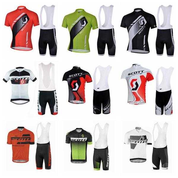 Скотт команда Велоспорт короткие рукава Джерси нагрудник шорты наборы новый летний дышащий гоночный велосипед Мужская одежда 3D гель pad U41630