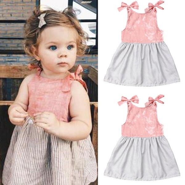 2019 Baby girl summer clothing Princess Patch cute Dress Striped Sleeveless Sundress for Kid clothes toddler Children newborn