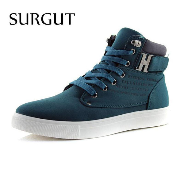 Al por mayor-SURGUT Brand Hot Quality Men Shoes Top Fashion Front Lace-Up Casual Botines Otoño Impermeable Wedge Warm