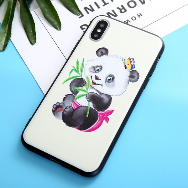 For Iphone XR XS MAX X 10 8 7 6 6S Plus Panda Cat Soft TPU Case Flower Butterfly Luxury Fashion Silicon Emboss Cute Lovely Black Phone Cover