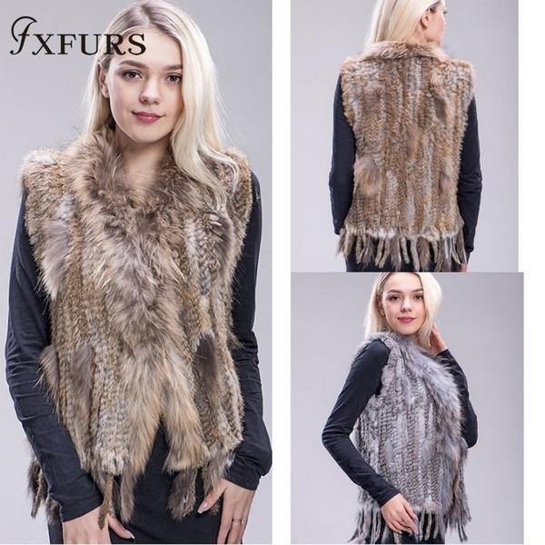 Fxfurs 2019 Натуральный мех кролика жилет вязаный меховой жилет Красочные кролик енот меховой свитер жилет 16 цветов Y190828