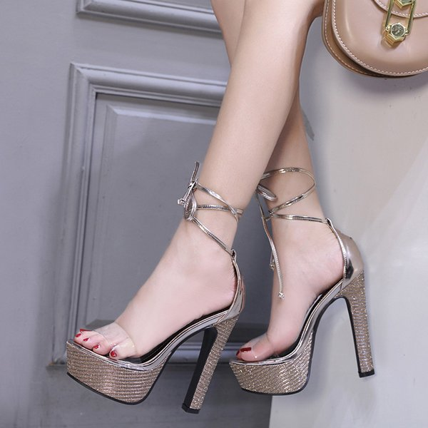Mini2019 Coarse Summer Sandals Woman Waterproof Platform Foot Ring Bandage Sexy Nightclub 14cm Super High With Shoe