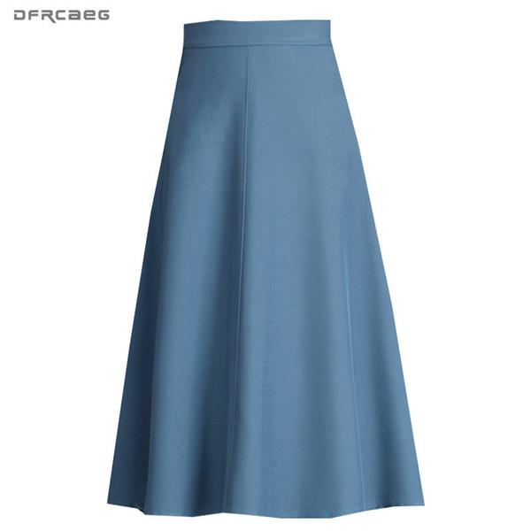 Taille haute Bureau Midi Jupes Pour Femmes 2019 Automne Travail Porter Plissé A-ligne Jupes Femme Casual Saia Bleu Noir Khaki MX190729