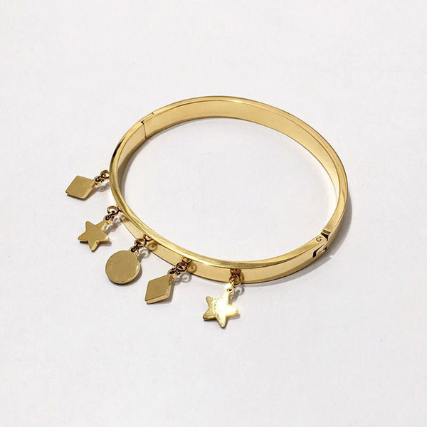 Fashions Geometric Patterns Charms Bangles Women Luxury Design Solid Colors Bracelet Ladies Star Bracelets Party Gifts