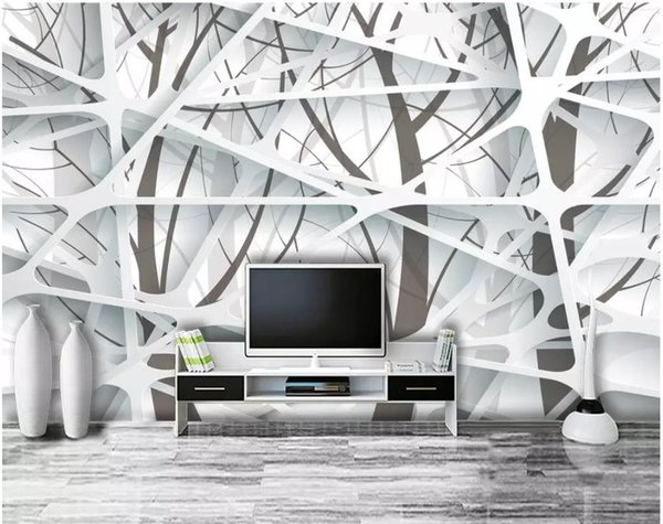 Modern Minimalist Big Tree 3D TV Background Wall Wallpaper For Walls 3 D  For Living Room Good Wallpapers For Computer Green Wallpaper From ...
