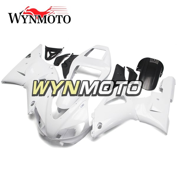 Cubiertas blancas 100% aptas para Yamaha YZF1000 R1 1998 1999 Cuadros completos para el cuerpo de la bicicleta R1 98 99 Paneles Cubiertas completas Repuestos Piezas de la motocicleta
