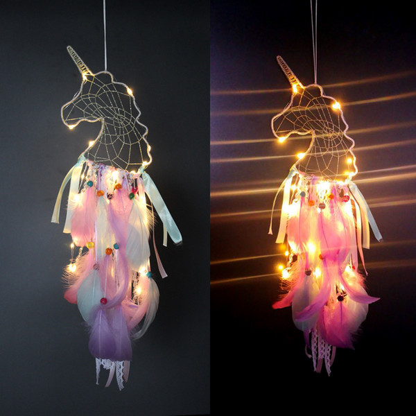 top popular 4 Colors LED Wind Chimes Unicorn Handmade Dreamcatcher Feather Pendant Dream Catcher Creative Hanging Craft Wish Gift Home Decoration C6756 2021