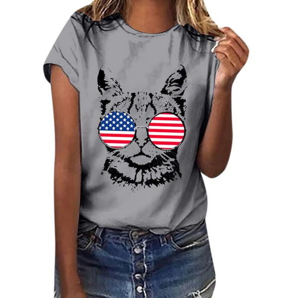 Kadın Yaz Kedi Karikatür Baskı Tees Gömlek Artı Boyutu Kısa Kollu T-Shirt Rahat Şık Günlük Camiseta de mujer # Y8 Tops