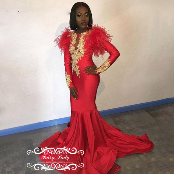 Luxury Feather Red Mermaid Prom Dresses With Gold Appliques 2019 Keyhole Neck Long Sleeves Evening Dress Formal For Women