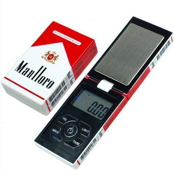 100 g x 0.01 g Báscula digital de peso balanza de bolsillo Básculas de joyería 0.01 gramo de caja de cigarrillo escalas Envío gratis DHL