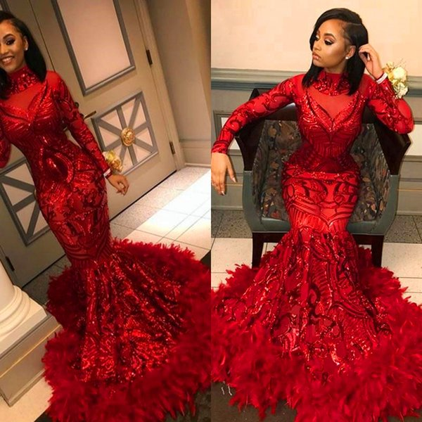 Gorgeous Sparkly Red Mermaid Evening Dresses 2020 Sequined with Feathers Long Sleeve African Black Girl Prom Dresses Formal Party Gown