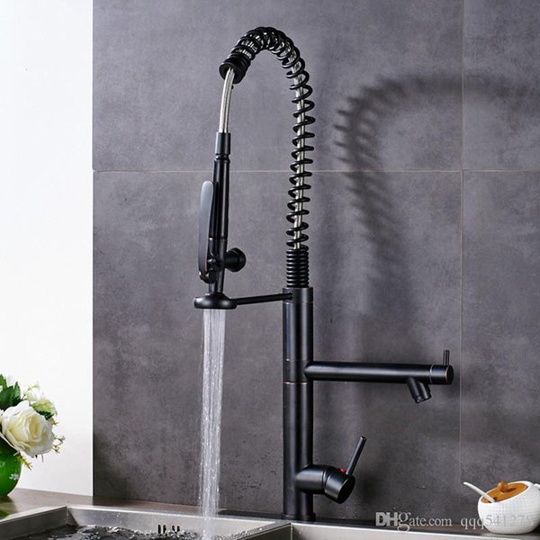Pre Rinse Kitchen Sink Faucet Spring Pull Down Dual Spout Hot and Cold Water Kitchen Mixers Swivel Side Spout Handsfree Sprayer