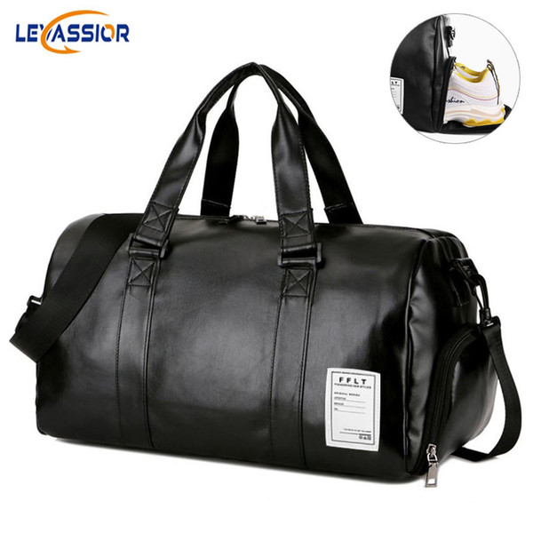 2019 New Waterproof PU Leather Sports Bag Gym Bag Yoga for Traveling Fitness Running Fishing with Shoes compartment Dry