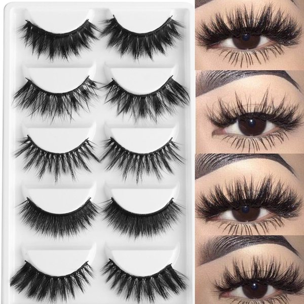5 Pairs Multipack 3D Soft Mink Hair False Eyelashes Handmade Wispy Fluffy Long Lashes Natural Eye Makeup Tools Faux Eye Lashes D19011701