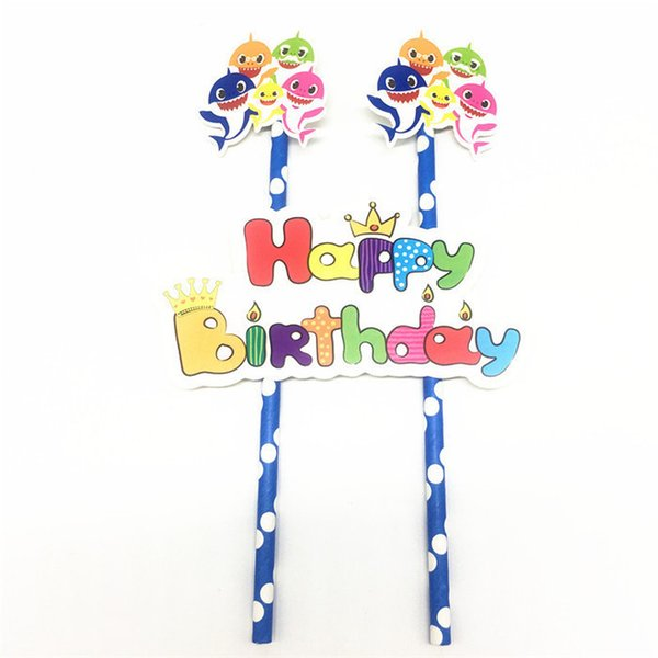 Детские акулы одноразовые бумаги торт Топпер 3 шт./компл. день рождения ребенка ду