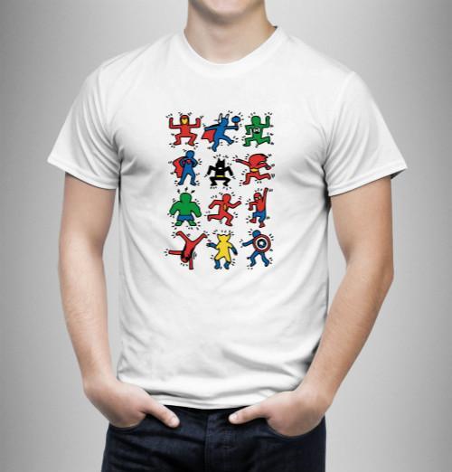 Keith Haring Héros Caractère Drôle T-Shirt Blanc En Gros Régulier 100% Coton T-shirt Hommes Homme Manches Courtes Crewneck Coton Grand Taille